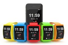 Big conceptual multicolour smart watches with Mobile Phone. On a white background Stock Photo