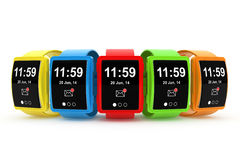 Big conceptual multicolour smart watches. On a white background Royalty Free Stock Photo