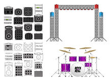 Big Concert and Festival Stage Set. Big festival or concerts stage equipment set, different amplifiers  in color and outlined, generic guitar, generic bass, set Royalty Free Stock Photography