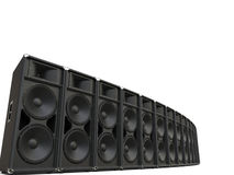 Big concert horn loudspeakers in a semi circle row Royalty Free Stock Images