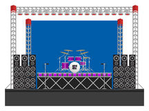 Big Concert Stage with Speakers and Drums. Big modern concert and festival stage with drum kit, speakers, lighting rigs, drum riser, microphones and equipment Royalty Free Stock Photography