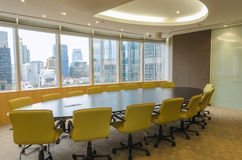 Big conference room in high office building. Big conference room with large windows in high rise office building Royalty Free Stock Photos