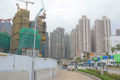 Big construction site with cranes in tko Royalty Free Stock Image