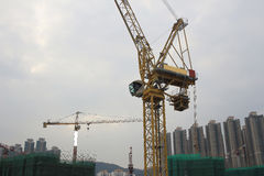 Big construction site with cranes in tko Royalty Free Stock Photography