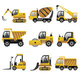 Big construction vehicles icons Royalty Free Stock Photos