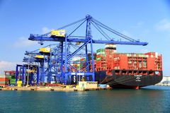 Container ship AL MURABBA docked in the containers terminal. Royalty Free Stock Images