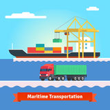 Big container ship being loaded by huge port crane Royalty Free Stock Images