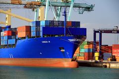 Container ship Cincia A docked in Valencia in containers terminal dock. Royalty Free Stock Image