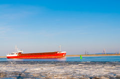 Big container ship entering the port Royalty Free Stock Photo