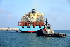 The big container ship MAERSK TUKANG in Valencia harbor. Stock Image