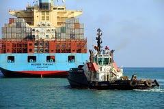 The big container ship MAERSK TUKANG in Valencia harbor. Royalty Free Stock Photos