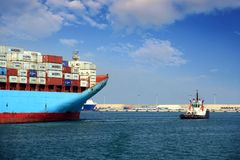 The big container ship MAERSK TUKANG in Valencia harbor. Royalty Free Stock Image