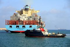 The big container ship MAERSK TUKANG in Valencia harbor. Stock Photography