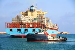 The big container ship MAERSK TUKANG in Valencia harbor. Royalty Free Stock Photography