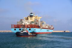The big container ship MAERSK TUKANG in Valencia harbor. Royalty Free Stock Images