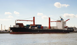 Big container ship on the river Royalty Free Stock Photography