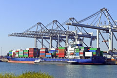 Big container ships with cranes Royalty Free Stock Photo