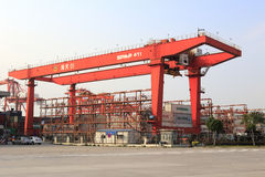Big container terminal crane. Big wharf cranes in haitian container terminal, amoy city, china Royalty Free Stock Photography