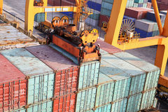 A big container vessel in a container seaport during transportat Royalty Free Stock Photography
