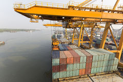 A big container vessel in a container seaport Royalty Free Stock Images
