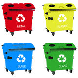 Big containers for recycling waste sorting, recycle bin Stock Photography
