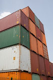 20 big containers of various colors. Are ready to be embarked stock photo