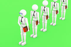 Big contract is always the first. Illustration 3D white men. Puppet  person, human . Businessman with a big contract is the first in the queue.  soft shadow on Royalty Free Stock Photo