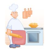 Big cook with rolling pin Royalty Free Stock Image