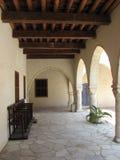 Big corridor. A corridor outside a big old building in Omodos, Cyprus Stock Photography