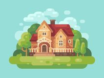 Big country house flat illustration. Modern country home banner. Background Royalty Free Stock Photo