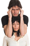 Big couple headache. Portrait of couple with woman eyes closed and man with migraine Royalty Free Stock Photography