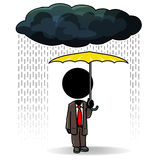 Big coverage. Cartoon action icon of a man standing in the rain with a big umbrella Stock Photography