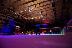 Big covered skating rink with illumination Stock Images