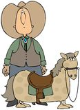 Big Cowboy Small Horse. This illustration depicts a big cowboy and a small horse looking at each other Stock Images