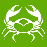 Big crab icon green. Big crab icon white isolated on green background. Vector illustration Stock Images