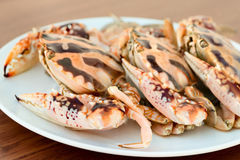 Big crabs on white plate Stock Image