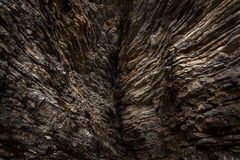 Big crack at mountains with sharp rocks Stock Image