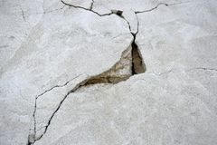 Big crack on old concrete wall. Deep crack like a triangle. vector illustration