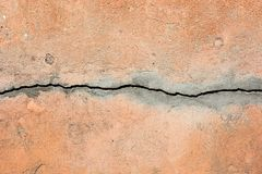 A big crack in an old wall. A big crack in an old concrete wall Royalty Free Stock Images