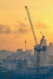 Big crane at construction site Royalty Free Stock Image