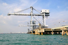 Big crane at harbour for load coal Stock Images