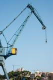 Big crane in Italian harbor Stock Images