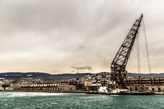 Big Crane in the port of Trieste Royalty Free Stock Photos