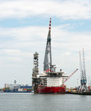 Big crane ship in rotterdam harbor Stock Image
