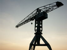 Big crane at sunset. Big crane, Nantes (France royalty free stock images