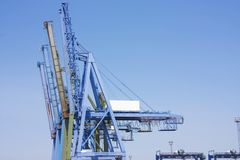 Big cranes at docks Royalty Free Stock Image