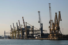 Big cranes at docks Stock Photo