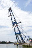 Big cranes in dutch harbor Royalty Free Stock Photo
