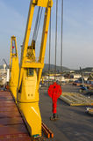 Big cranes with industry ship at port Stock Images