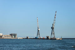 Big cranes in the port of Genoa, Italy Royalty Free Stock Image